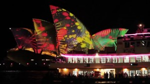 Figure 2 - Sydney Opera House as screen at Vivid 2014. Video Design by 59 productions. Image courtesy of 59 productions, used with permission.